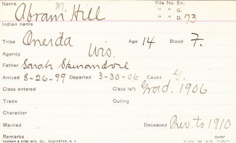Abraham M. Hill Student Information Card