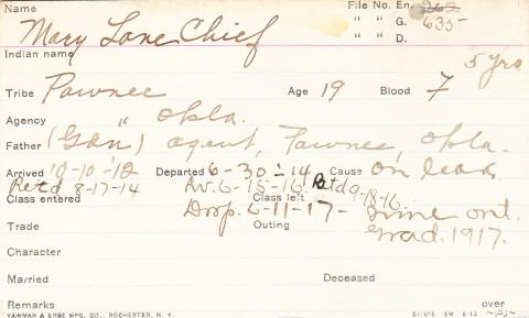 Mary Lonechief Student Information Card