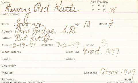 Henry Red Kettle Student Information Card