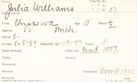 Julia Williams Student Information Card