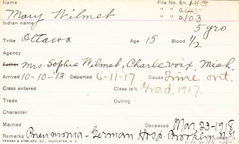 Mary Wilmet Student Information Card