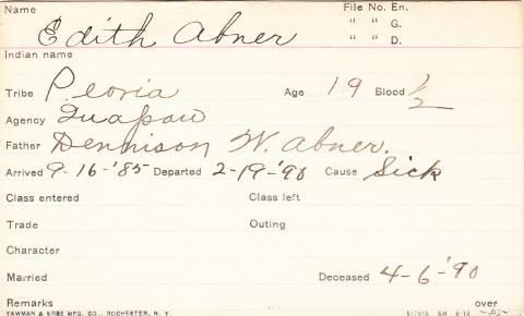 Edith Abner Student Information Card