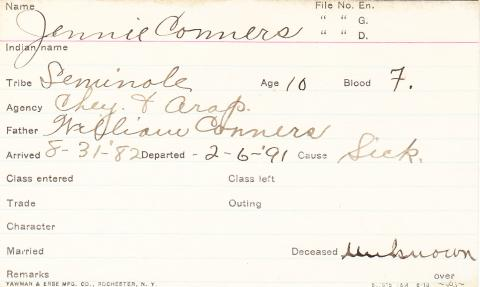 Jennie Conners Student Information Card