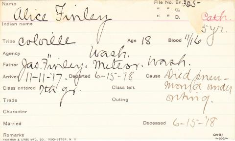 Alice Finley Student Information Card
