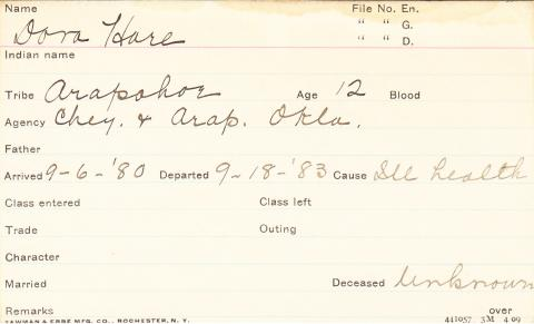 Dora Hare Student Information Card