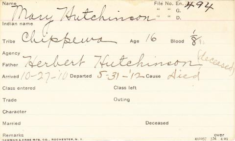 Mary Hutchinson Student Information Card