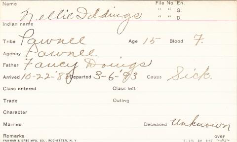 Nellie Iddings Student Information Card