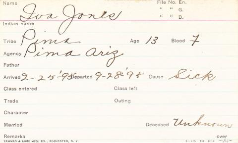 Iva Jones Student Information Card