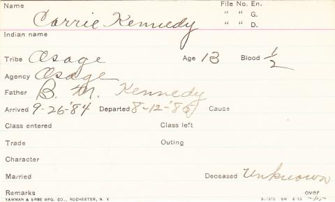 Carrie Kennedy Student Information Card