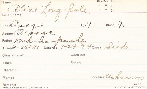 Alice Long Pole Student Information Card