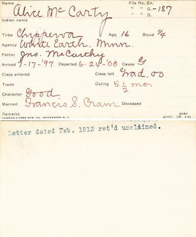 Alice McCarthy Student Information Card