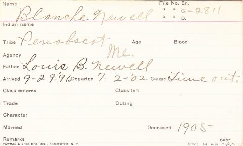 Blanche Newell Student Information Card