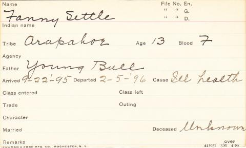 Fannie Settle Student Information Card