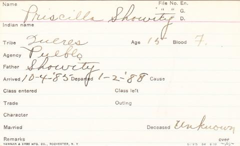 Priscilla Showity Student Information Card