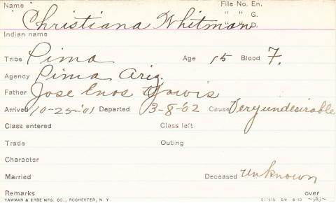 Christiana Whitman Student Information Card