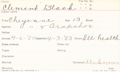 Clement Black Student Information Card