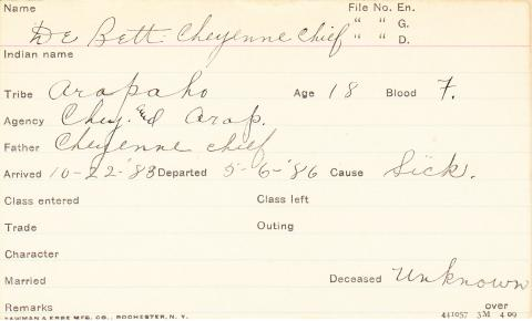 De Bett Cheyenne Chief Student Information Card