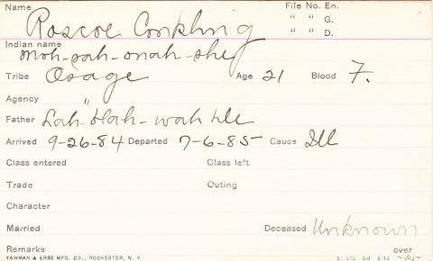 Roscoe Conkling (Moh sah onah she) Student Information Card