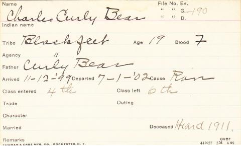 Charles Curly Bear Student Information Card