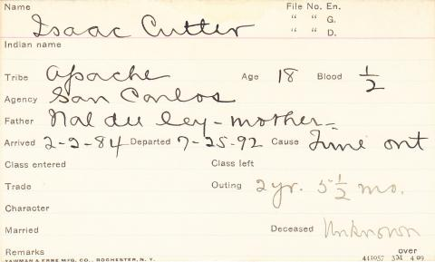 Isaac Cutter Student Information Card