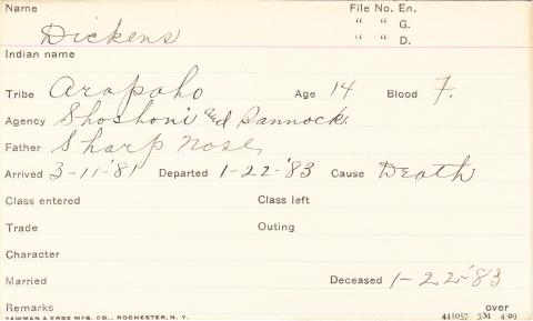 Dickens Student Information Card