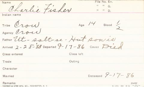 Charlie Fisher Student Information Card