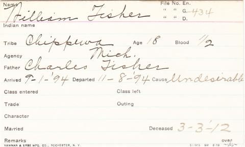 William Fisher Student Information Card