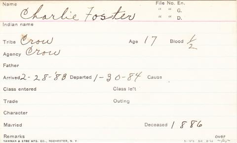 Charlie Foster Student Information Card