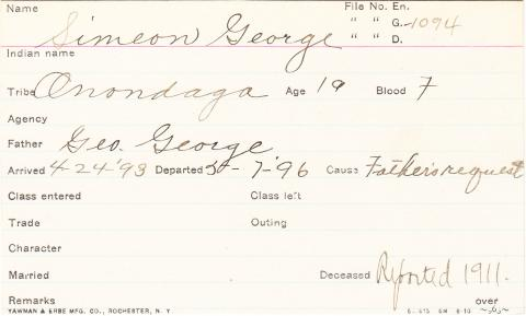 Simeon George Student Information Card