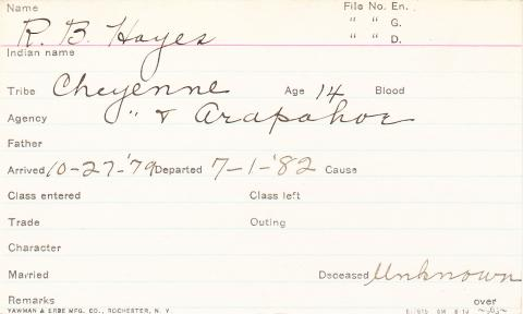 R. B. Hayes Student Information Card