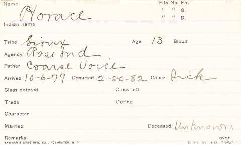 Horace (White Whirlwind) Student Information Card