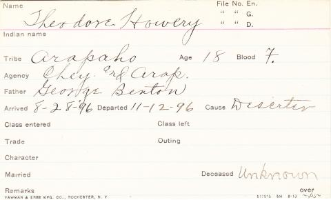 Theodore Howery Student Information Card