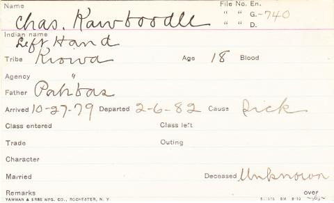 Charles Kawboodle (Left Hand) Student Information Card