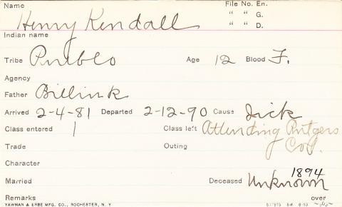 Henry Kendall Student Information Card