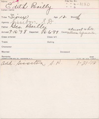 Edith Bailly Student Information Card