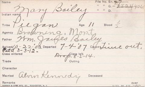 Mary Bailey Student Information Card