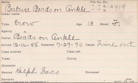 Beatrice Beads-on-Ankle Student Information Card