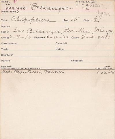 Elizabeth Bellanger Student Information Card