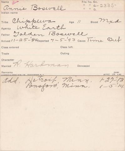 Annie Boswell Student Information Card