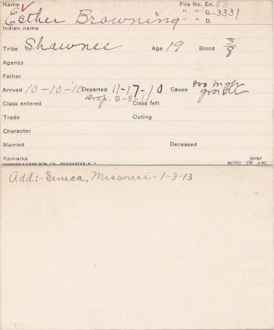 Esther Browning Student Information Card