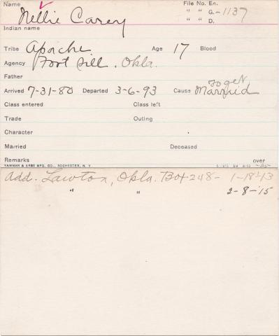 Nellie Carey Student Information Card