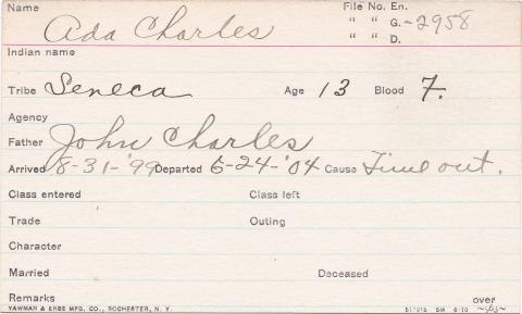 Ada Charles Student Information Card