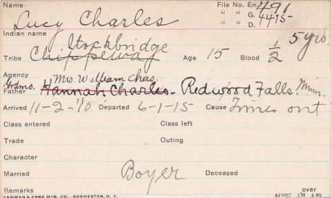 Lucy Charles Student Information Card