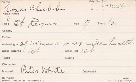 Agnes Chubb Student Information Card