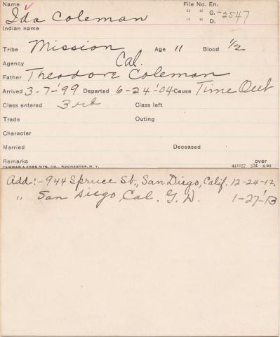 Ida Coleman Student Information Card