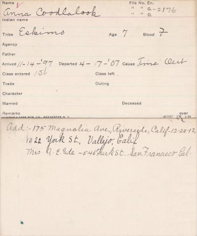 Annie Coodlalook Student Information Card