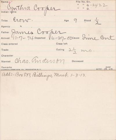 Cynthia Cooper Student Information Card