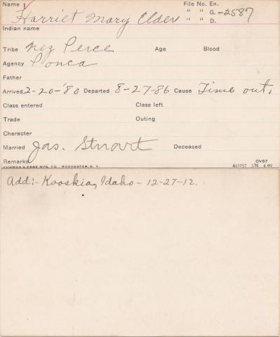 Harriet Mary Elder Student Information Card