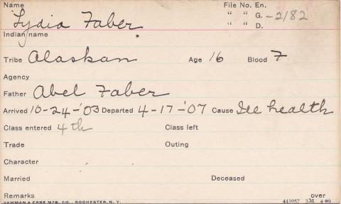 Lydia Faber Student Information Card