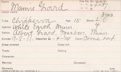 Mamie Giard Student Information Card